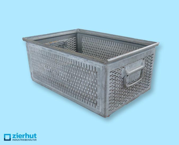Stapelkisten, Typ: 14/6-2, geschlitzt, 480x320x200 mm, metall-verzinkt, gebraucht