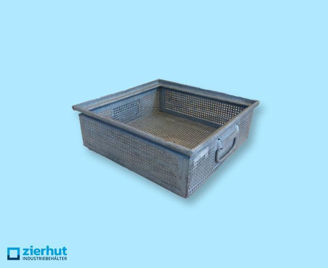 Stapelkisten aus Stahl verzinkt, gelocht, 400x400x130 mm Boschkästen
