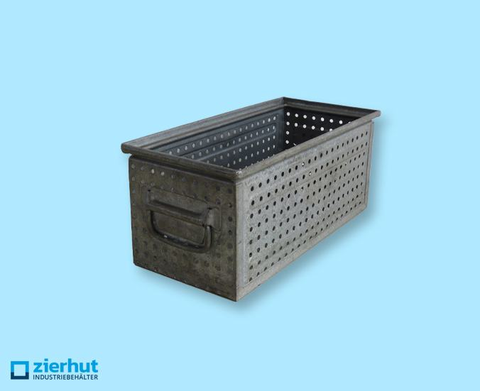 Schäferkisten gelocht 450x200x175 mm, metall-verzinkt, gebraucht, gelocht 6-7mm