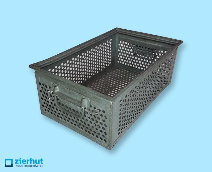 Stapelkisten aus Metall, Schäferkisten Typ: 14/6-A, verzinkt, gelocht, gebraucht