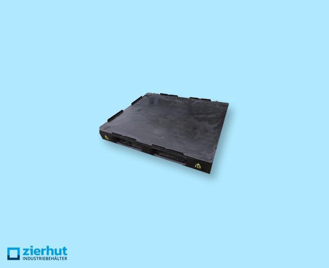 ESD-Kunststoffpaletten, TC3, schwarz, aus PE-HD, 1.250 kg Belastung