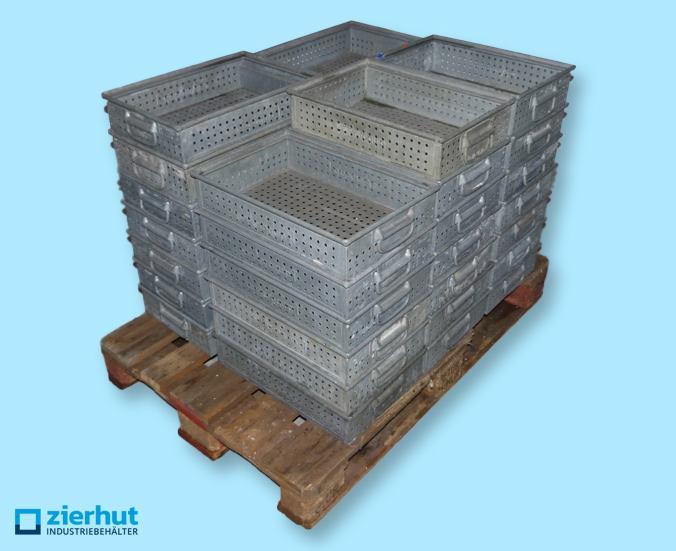 1 Posten (34 Stk.) Schäfer Lochkästen Typ 14/6 , Lagerbehälter aus metall – verzinkt