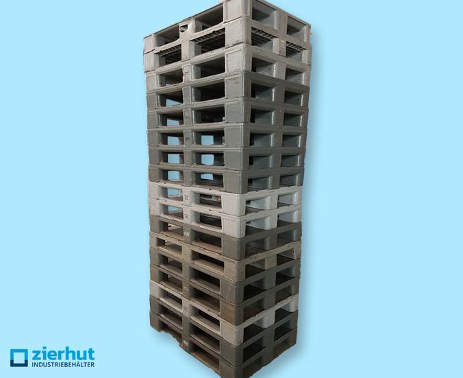 Kunststoffpalette ähnlich H1 Palette, mit Sicherungsrand, 3 Kufen, geschlossene Oberfläche