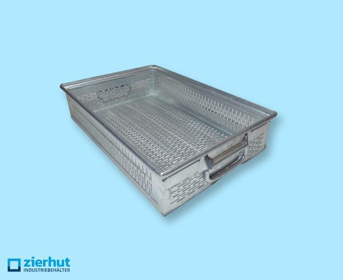 Schäfer Lochkästen Typ 14/6-2 G , Lagerbehälter aus metall – verzinkt, verschiedene Lochgrößen