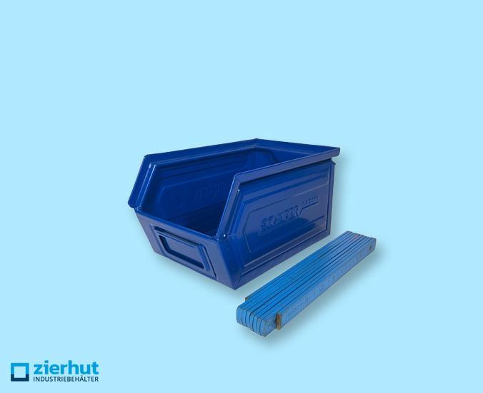 Sichtlagerkasten, Schäfer-Lager-Fix 4, Typ:14/7-4, Stahl – blau