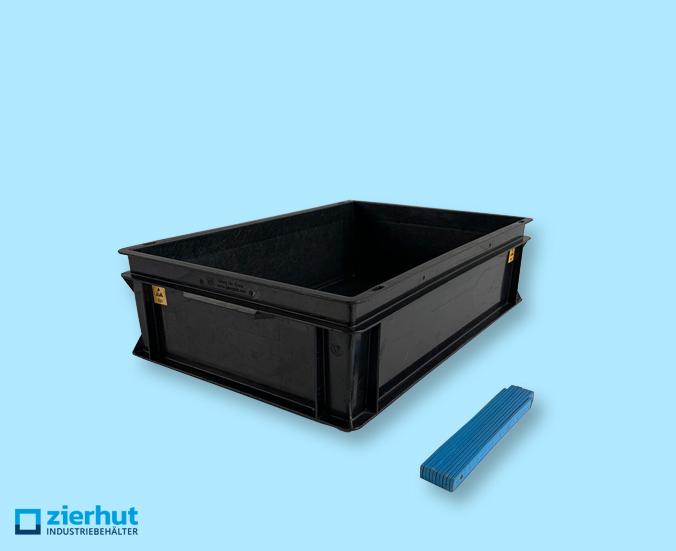 Euronormbehälter, Rako-Behälter ESD, 600x400x170 mm mit Muschelgriffen