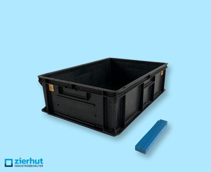 Euronormbehälter ESD, Typ: EF-6180, 600x400x180 mm mit geschlossenen Handgriffen