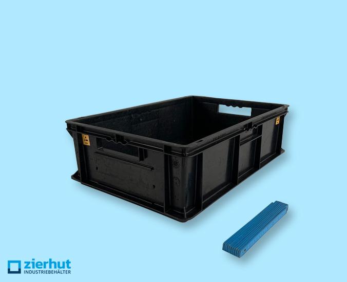 Euronormbehälter ESD, Typ: EF-6180, 600x400x180 mm mit offenen Handgriffen