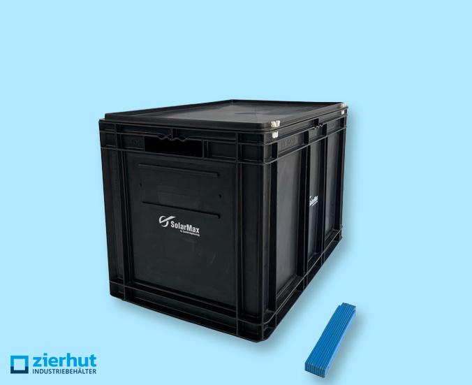 Euronormbehälter ESD, Typ: EF-6420, 600x400x420 mm + Scharnierdeckel