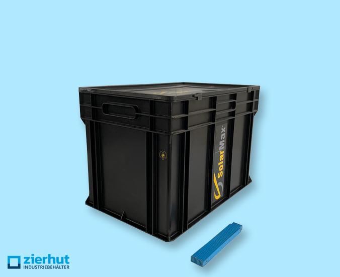 Euronormbehälter, Blackline ESD, 600x400x412 mm + Scharnierdeckel